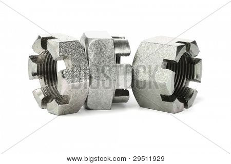 Three Hexagonal Metal Nuts on White Background