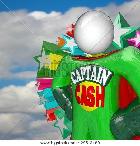 The superhero Captain Cash stands with arms on his hips with cape behind him against a blue cloudy sky, fighting for lower prices and rates to save you money