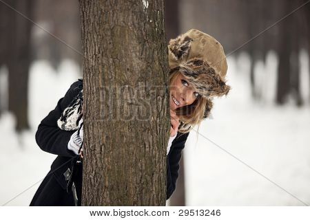 Outdoor Winter Portrait Of Happy Young Woman