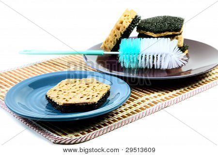 Kitchen Sponges For Ware Washing On A White