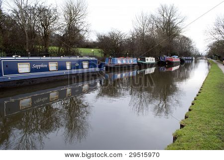 Canal Boats On Leeds And Liverpool Canal At Bingley