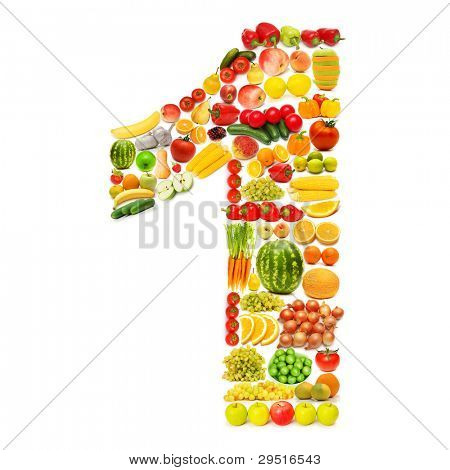 Alphabet made of many fruits and vegetables