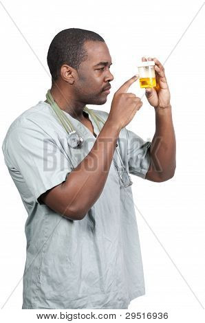 Black Doctor With Urine Sample