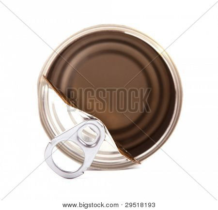 Empty Aluminium food can isolated on white.