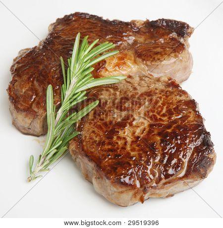 Chargrilled rib-eye beef steak