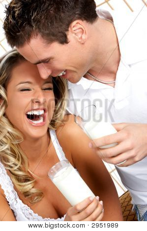 Love Couple With Milk