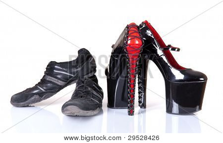 Concept of comfortable and uncomfortable footwear, isolated on white background with soft shadow and reflection
