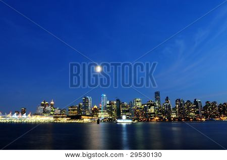 Vancouver skyline at night by full moon