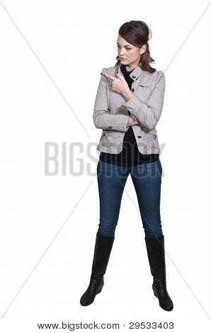Mulher apontando dedo