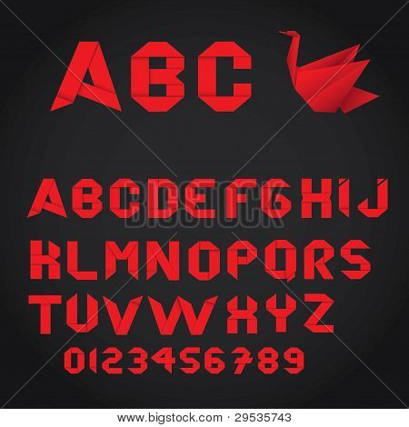 Red Origami alphabet and numbers