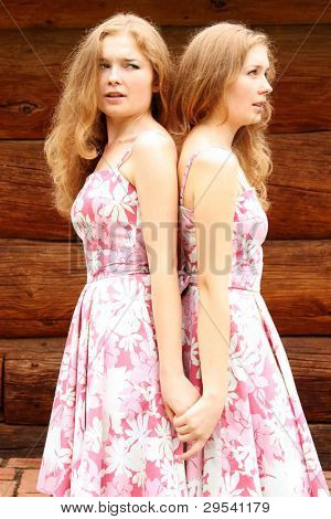 Two young beautiful girls twins in identical pink dresses