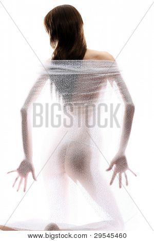 Inner Beauty - Anonymous nude of girl silhouetted behind sheer cloth