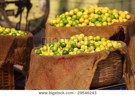 Lemons In Local Market In India.