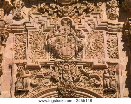Ornate Carving Above Door Valencia Church Guanajuato Mexico