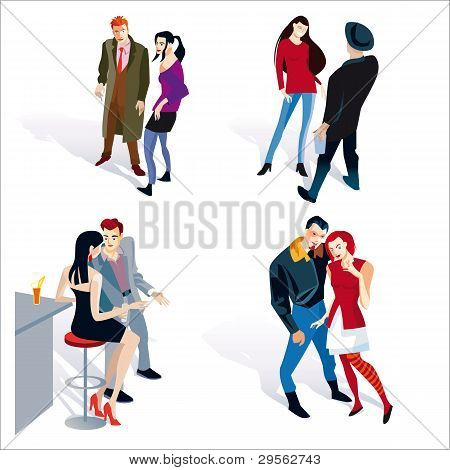 Young Boy And Girl Couples White Background