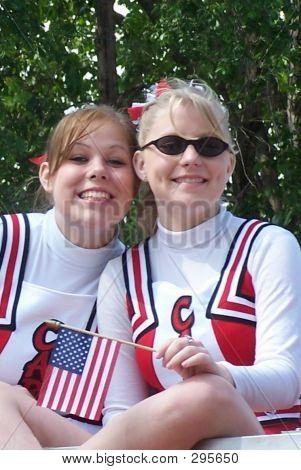 Cheerleaders Riding In Memorial Day Parade