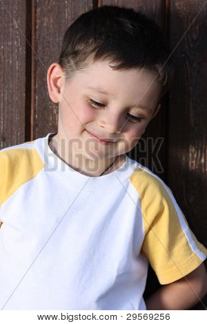 Closeup portrait of beautiful little boy