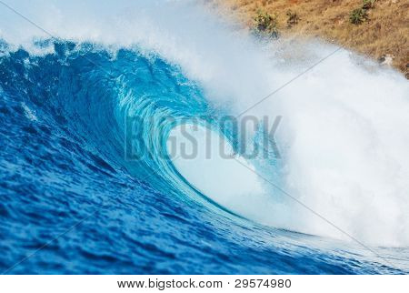 Blue Ocean Wave, View from in the Water a Surfers Perspective