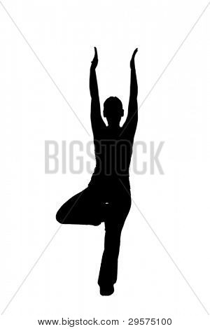 woman doing yoga, black and white graphic