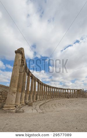 Column Around The Oval Plaza At The Ancient Roman City Of Jerash