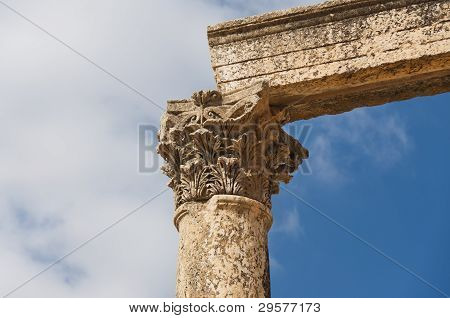 Ancient Vertical Columns With Capitals And Lintel