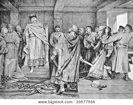 Galician boyars executed witch, darling Prince Osomysl. Engraving by Renar from picture by painter Lebedev. Published in magazine
