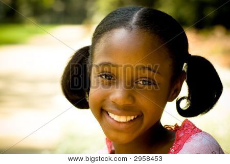 African-American Girl Smiling