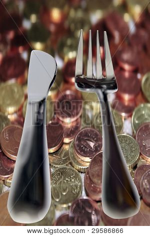 Eating Out Knife And Fork Isolated In Money