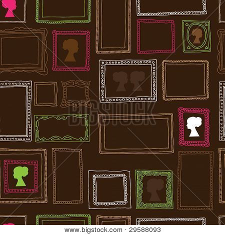 Seamless victorian ornaments photo frames pattern in vector