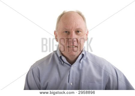 Old Guy In Blue Shirt