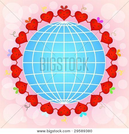 Cartoon red hearts circle around globe on pinky background.
