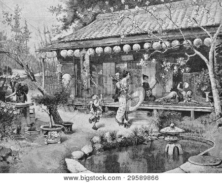 Kingdom of the Mikado (Japan). Engraving by Brendamur from picture by painter Mura. Published in magazine