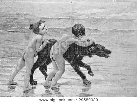 "Children playing with a dog. Engraving by Doshi . Published in magazine ""Niva"", publishing house A.F. Marx, St. Petersburg, Russia, 1893"
