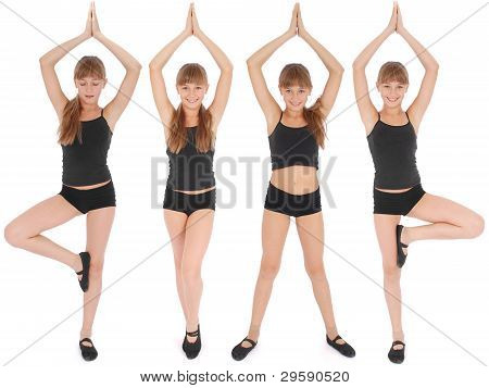 Four Poses. Young Girl Making Yoga Exercises