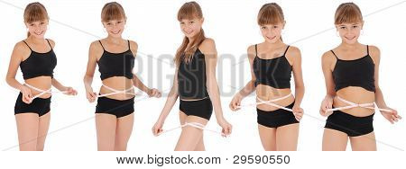 Girl Measuring Waist With Tape Measure. Five Poses.