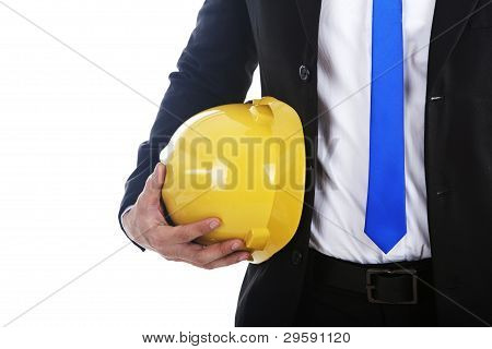 Businessman With Engineer Helmet