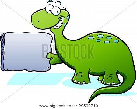Cartoon Brontosaurus with Sign