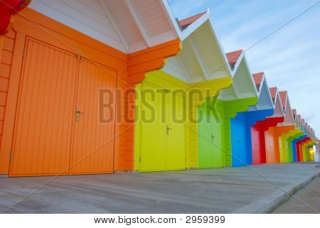 Colorful British Beach Huts