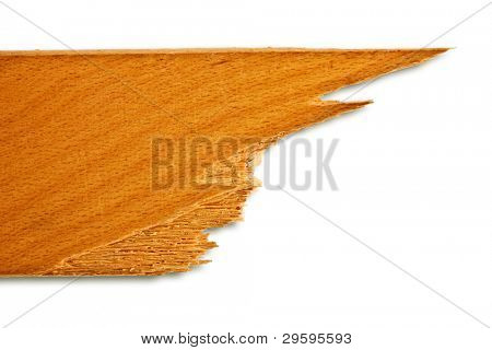 piece of broken planks of beech, with clipping a patch on a white