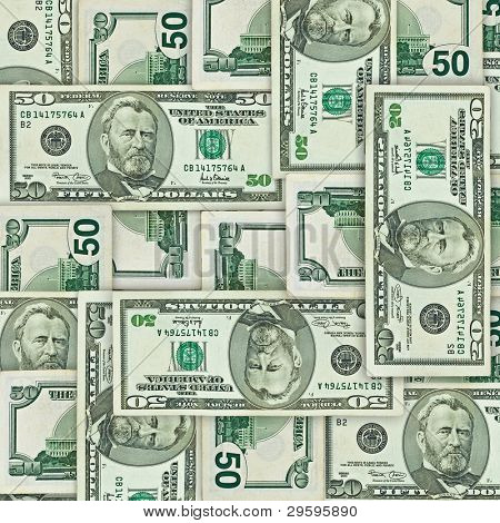 background from different sides of fifty U.S. dollars