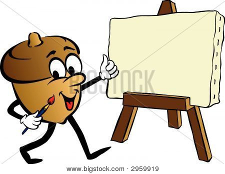 Cartoon Of Animated Acorn Painting On Easel