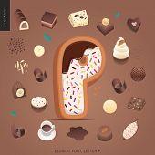 Dessert Font - Letter P - Modern Flat Vector Concept Digital Illustration Of Temptation Font, Sweet  poster
