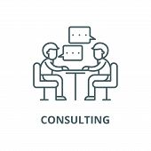 Consulting Line Icon, Vector. Consulting Outline Sign, Concept Symbol, Flat Illustration poster