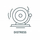 Distress Line Icon, Vector. Distress Outline Sign, Concept Symbol, Flat Illustration poster