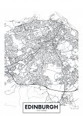 Vector Poster Detailed City Map Edinburgh Detailed Plan Of The City, Rivers And Streets poster