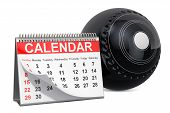 Lawn Bowl Ball With Calendar, Lawn Bowl Events Calendar Concept. 3d Rendering Isolated On White Back poster