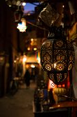 Moroccan Lamp. Ornate Traditional Moroccan Lamp. Moroccan Brass Metal Lantern Lamp On The Night Stre poster
