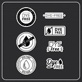 Vector Logo For Products. Stickers Dye Free For Product Packaging. Dye-free Drawn Isolated Sign Icon poster