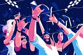 Noisy Funny Crowd Vector Illustration. Cheerful People poster