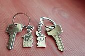 Two Keys With Splitted Or Broken Key Rings With Pendant In Shape Of House Divided In Two Parts On Wo poster